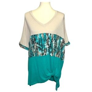 NWT Umgee Colorblock Snakeskin Knotted Top Blue